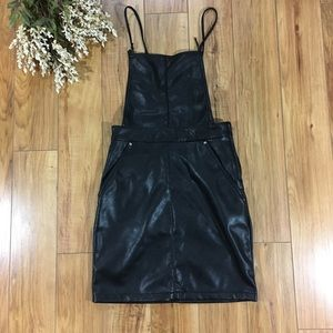 H&M overall bib faux leather dress NWT